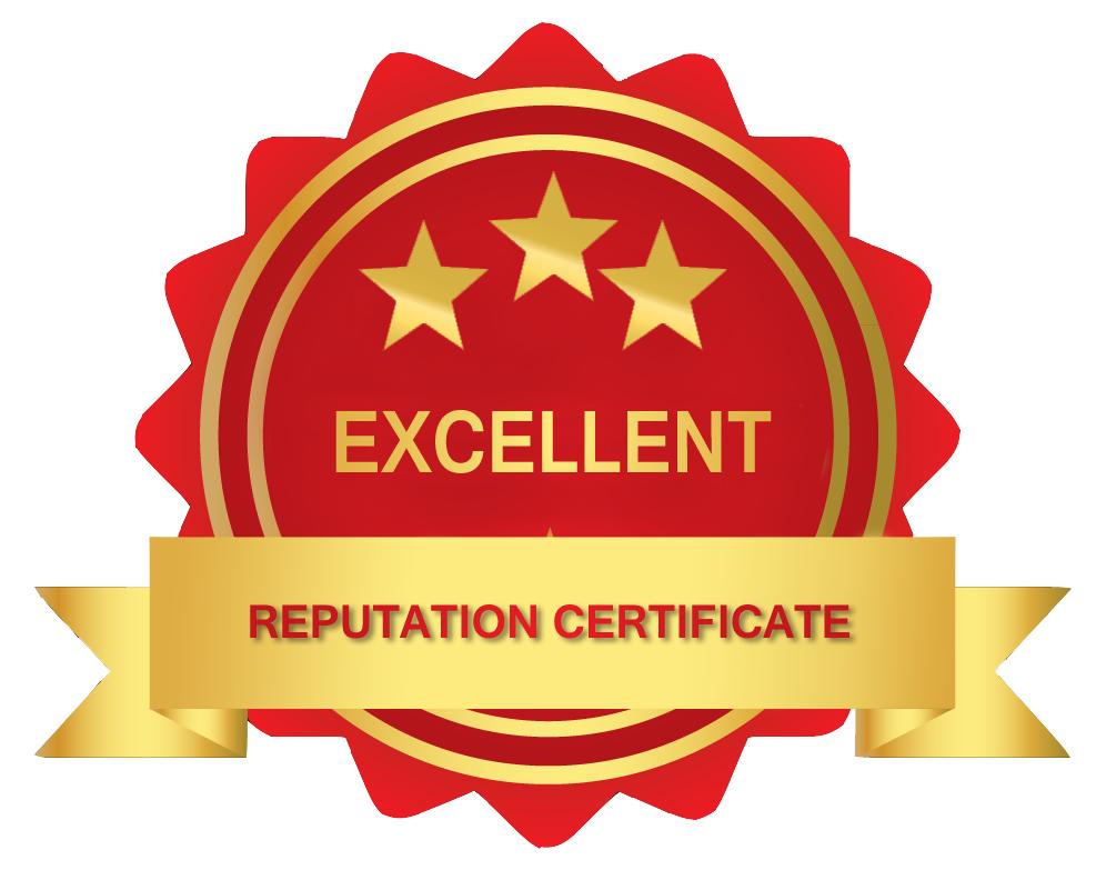 excelente certificado reputação